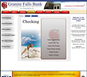 Minnesota Valley Technology Inc., website design for Granite Falls Bank.  We also specialize in network support for small to medium size businesses.  Branch office connectivity with secure VPN technologies, content filtering to help reduce unwanted employee websurfing on company time, remote managment options, backup solutions, and more... so please call our office to make an appointment.